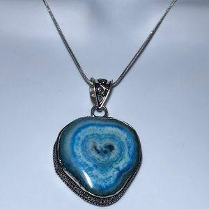 .925 Blue Solar Quartz Druzy Pendant Necklace
